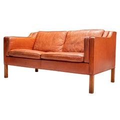 Børge Mogensen Sofa 2212 in Brick-Coloured Brown Leather and Oak, Denmark 1960's