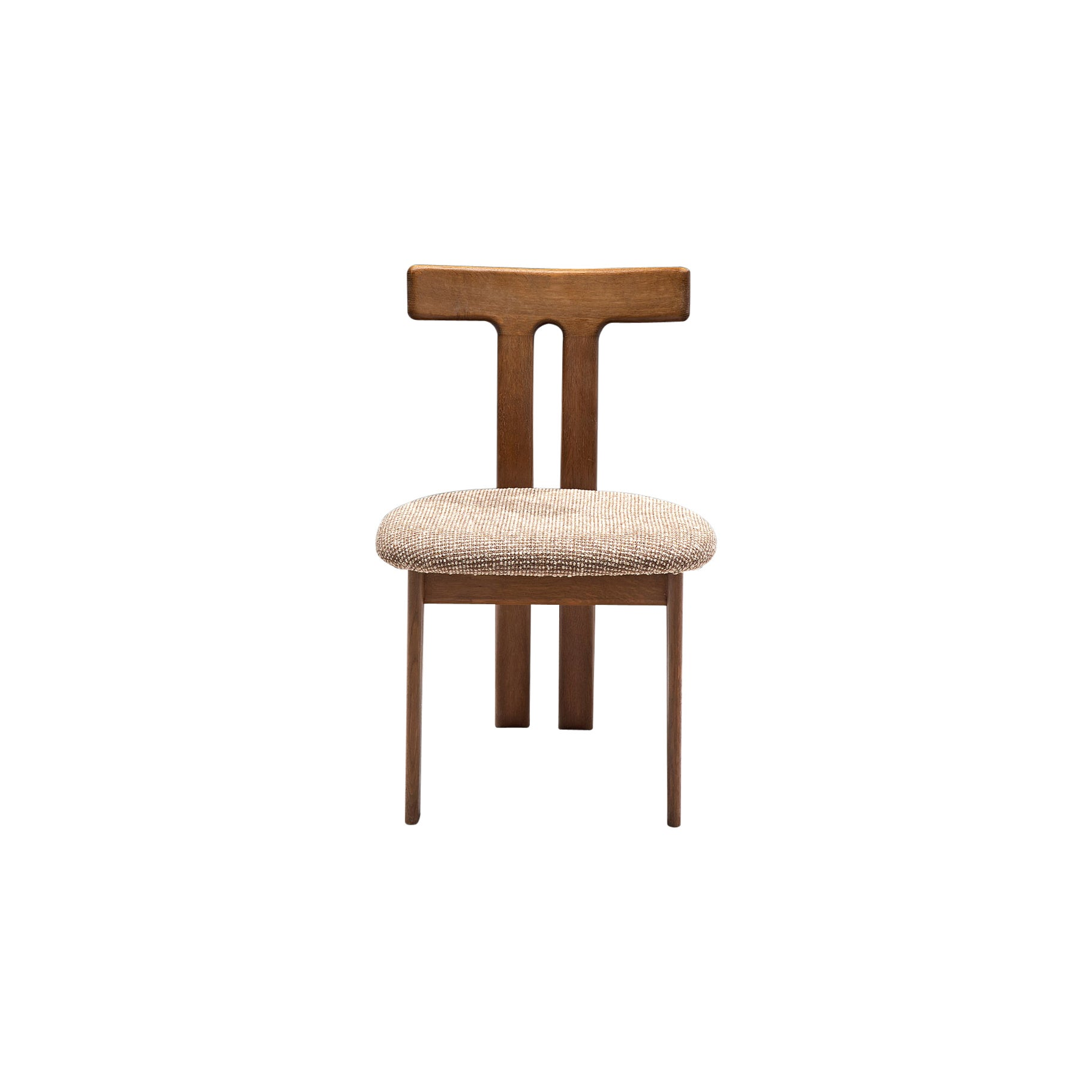 French Dining Chair in Oak and Beige Upholstery