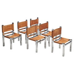 Set of Six Italian Dining Chairs in Chromed Metal and Cognac Leather