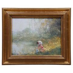 Robert Hagen Impressionist Oil on Canvas Landscape Lake Scene Figures Framed