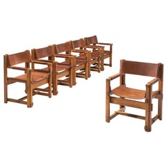 Joan Pou Set of Six Spanish Armchairs in Pine and Cognac Leather