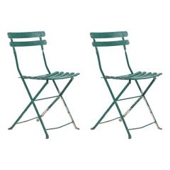 Pair of Outdoor French Iron Side Chairs