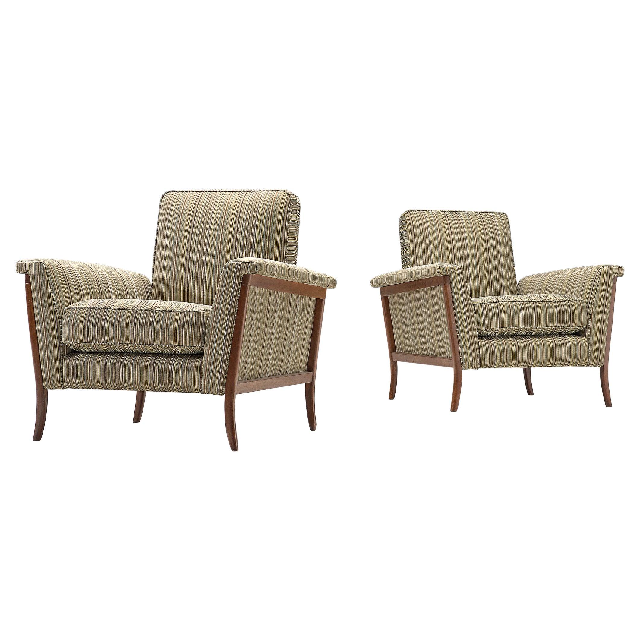 Pair of Brazilian Lounge Chairs in Mahogany