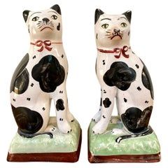 Pair of Antique Victorian Staffordshire Cats