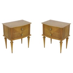 Pair of Mid-Century Maple Two-Drawer Commodes