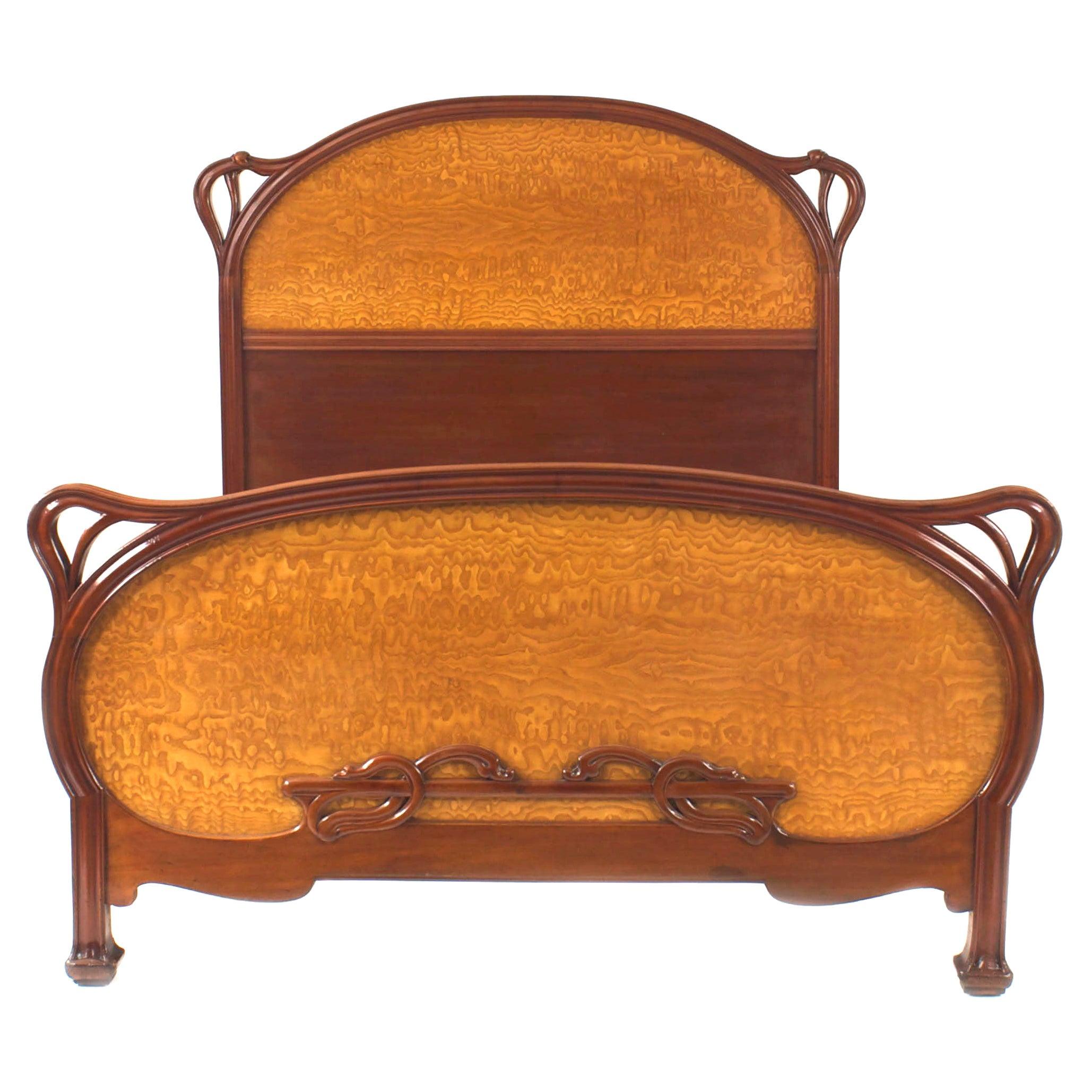 French Art Nouveau Mahogany Full Size Bed