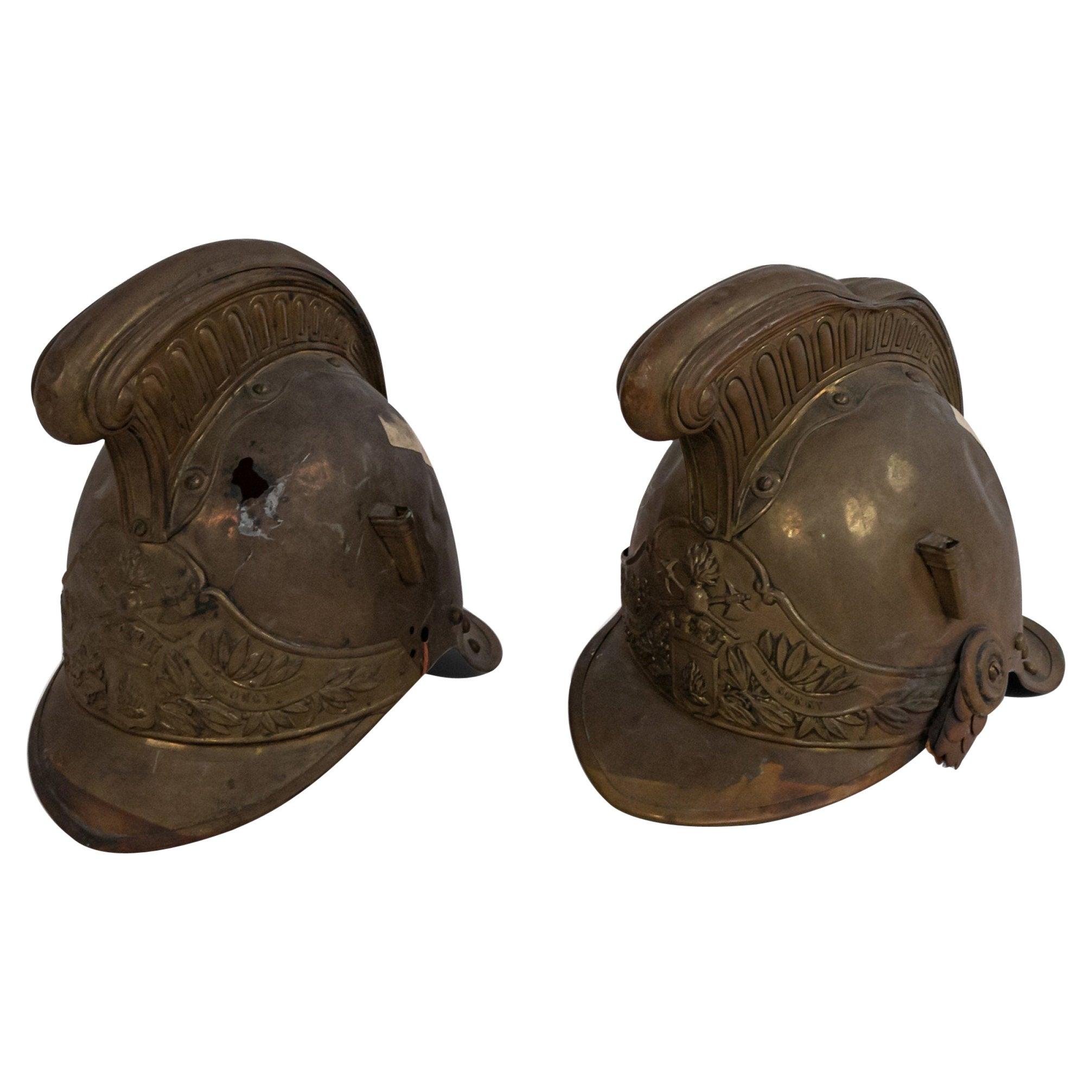 French Victorian Brass Fireman's Helmets