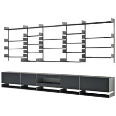Large Modular Wall Unit by Dieter Rams in Aluminum and Black Wood