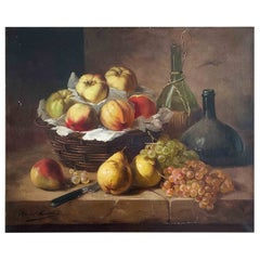 """Brunel De Neuville Alfred """"Still Life with a Basket of Fruits"""""""
