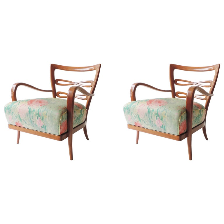 Pair of Italian 1940s Cherry Wood Armchairs For Sale