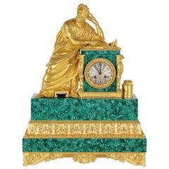 Neoclassical Style Gilt Bronze and Malachite Mantel Clock