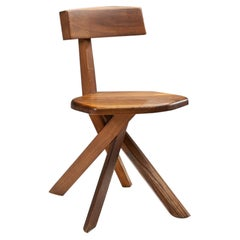 """Pierre Chapo """"S34"""" Solid Elm Chair, France, 1960s"""