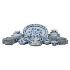 58 Pc Vintage Meissen Flow Blue Onion China Set Oval Mark Germany Oval Mark