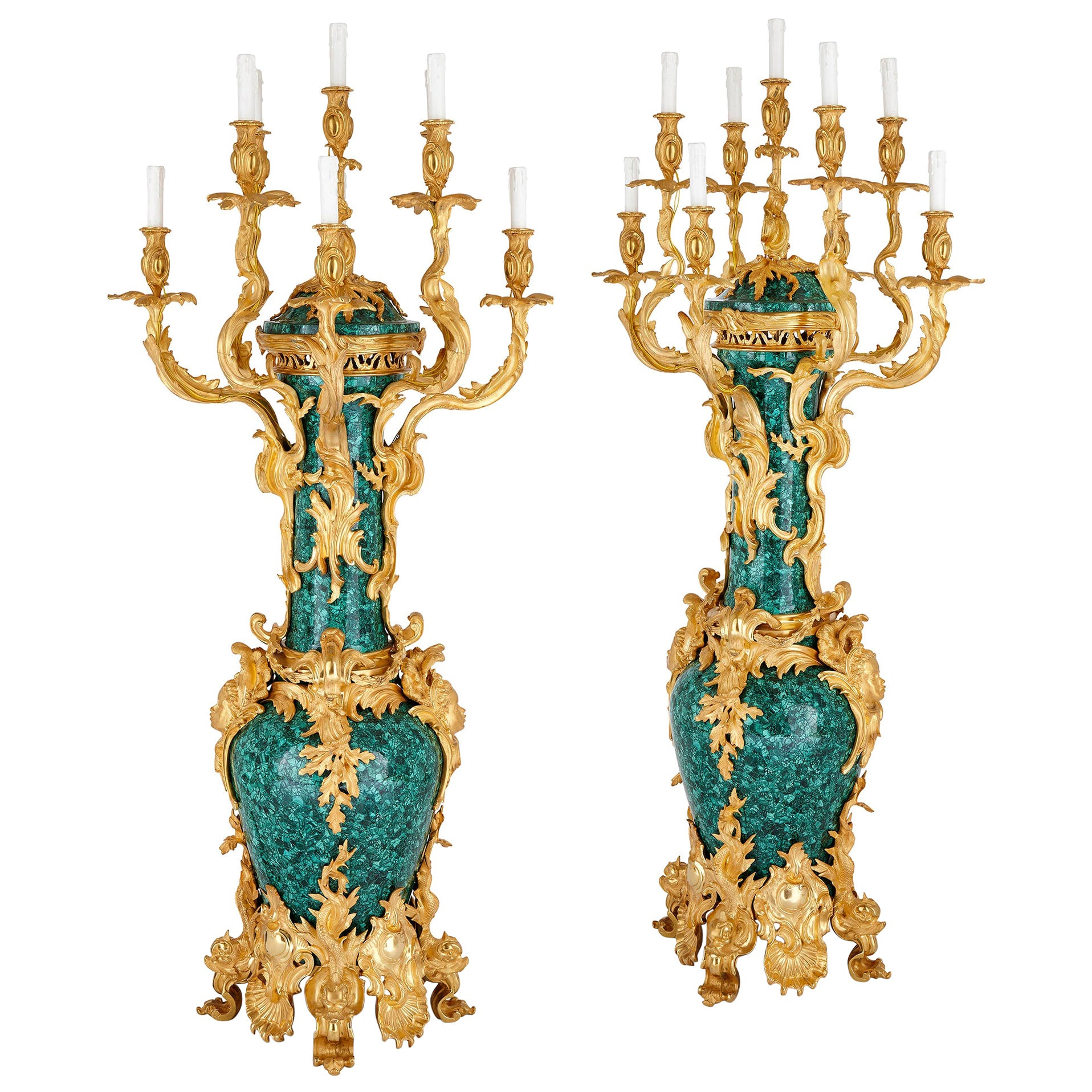 Pair of Large Rococo Style Gilt Bronze and Malachite Candelabra