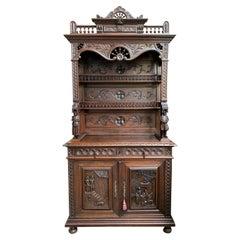 Antique French Carved Oak Sideboard Cabinet Bookcase Breton Brittany