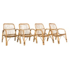 1960s French Rattan Armchairs, Set of Four