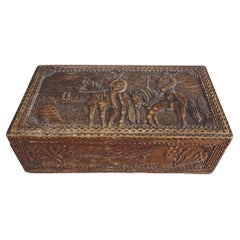 Antique Wooden Box Casket with Carved Historical Scenery, 1910