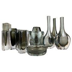 Midcentury Set of 12 Pieces Art Glass Nils Landberg Orrefors, Sweden
