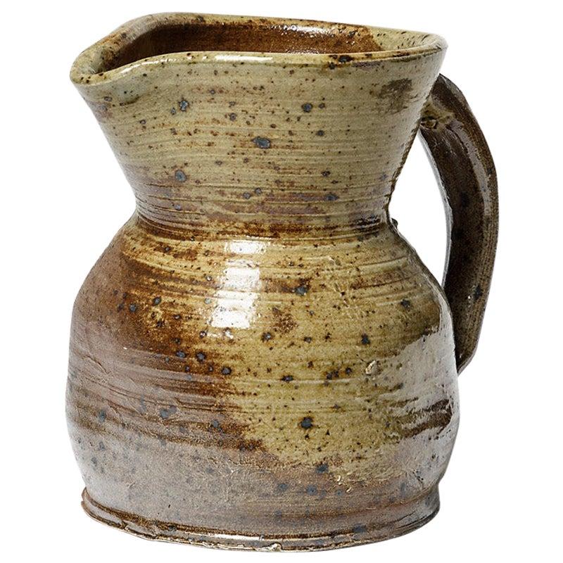Brown Stoneware Ceramic Pitcher by Benoist Favre La Borne 1970 Design