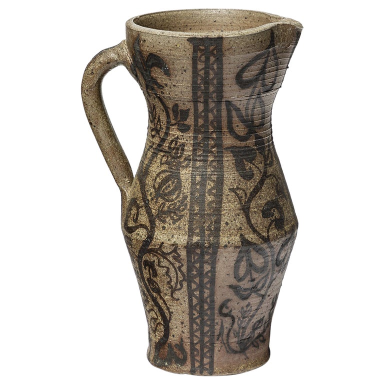 Black and Grey Design Ceramic Pitcher by St Amand French Design circa 1960 For Sale