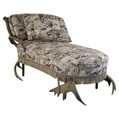 Continental Horn and Antler Velvet Chaise