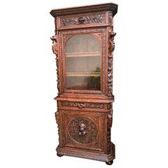 Antique French Carved Oak Cabinet Bookcase Renaissance Lion Black Forest Vitrine