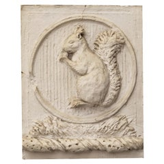 Antique Plaster Wall Plaque of a Squirrel