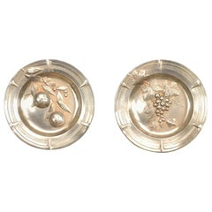 Pair of French Victorian Pewter Round Wall Plates
