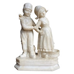 Large Hand Carved Antique Romantic Farmer Boy & Girl, Alabaster Statue Sculpture