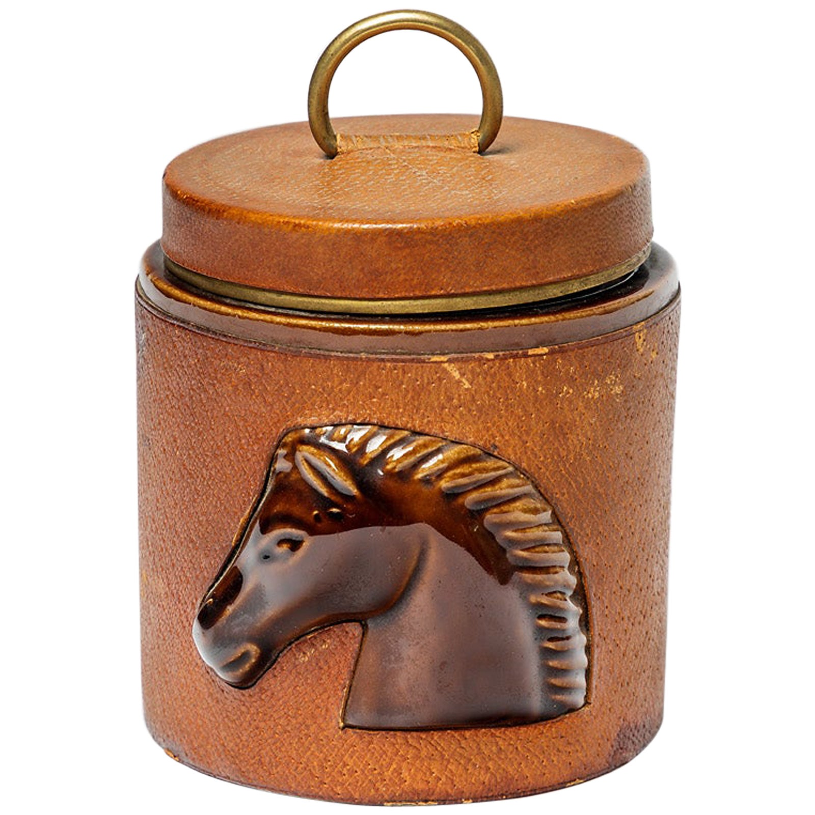 Decorative Leather and Ceramic Cigarette Box by Longchamp French Luxury