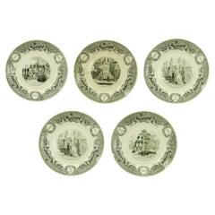 Set of 5 French Victorian Transferware Plates of Historical Landmarks