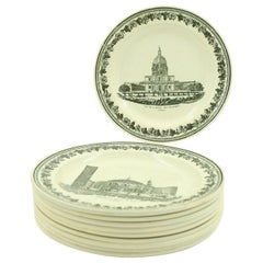 Set of 10 French Black and White Creamware Plates of French Landmarks