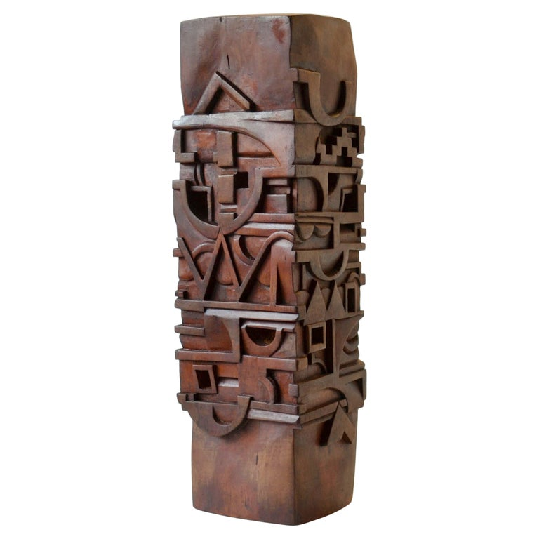 Abstract Totem Sculpture Carved in Wood For Sale
