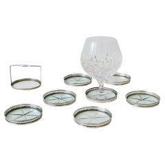 Sterling Silver and Crystal Champagne or Cocktail Drink Coasters, Set of 7