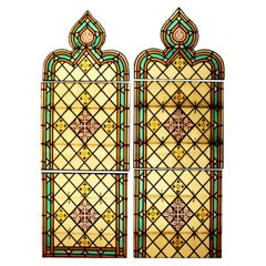 Pair of Reclaimed Stained Glass Lancet Windows