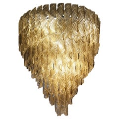 Large Chandelier, Murano Light Fume Glass in Oval Spiral Ribbed Elements 7 Tiers
