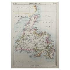 Original Antique Map of Newfoundland, 1889
