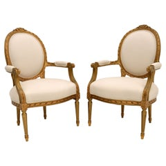 Pair of Antique French Gilt Wood Salon Chairs
