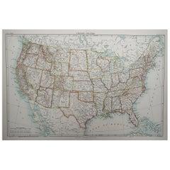 Original Antique Map of The United States of America, 1889