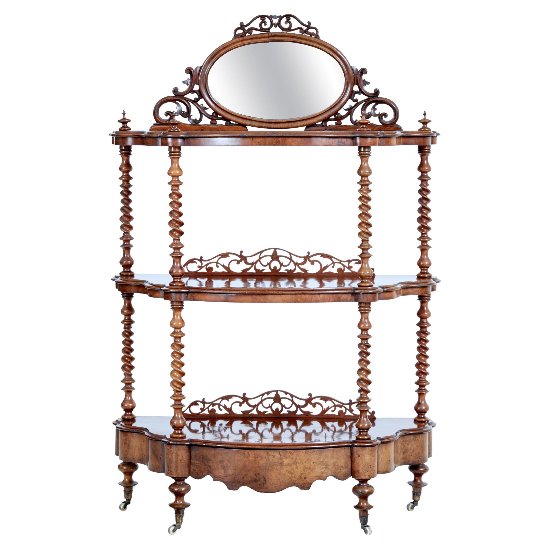 Victorian 19th Century Burr Walnut 3 Tiered Stand