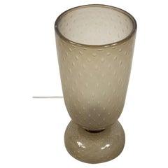 Italian Mid-Century Murano Smoked Bubble Glass Chalice Table Lamp