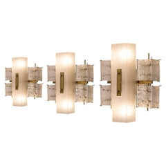 Set of Three Wall Lights in Brass and Glass