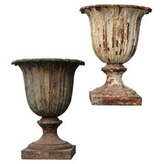 Two Antique Victorian Cast Iron Urns