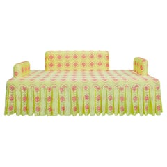 """""""Vitamin D"""" Hand-Embroidered Yellow and Magenta Silk Sofa"""