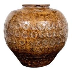 Rustic Asian Textured Glazed Ceramic Storage Jar