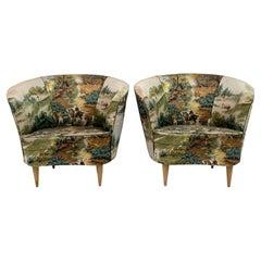 Pair of Casa e Giardino Mid-Century Modern Italian Small Armchairs, 1950s