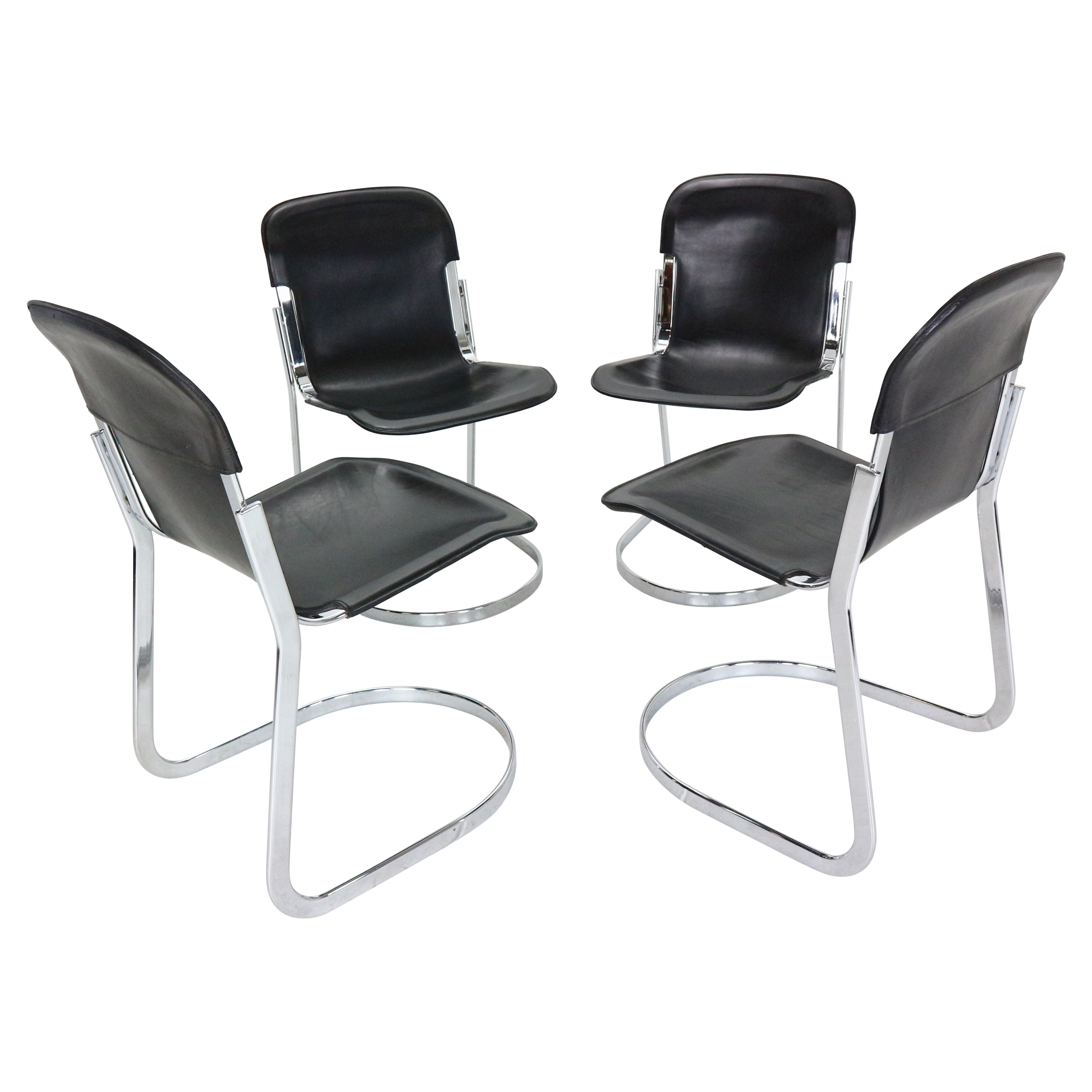 """Willy Rizzo Set of Black Leather Dining Chairs """"C2"""" For Cidue, 1970s, Italy"""