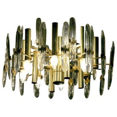 Sciolari Gold Brass Led Crystal Mid-Century Chandelier 12 Lights Stilkronen, 70s