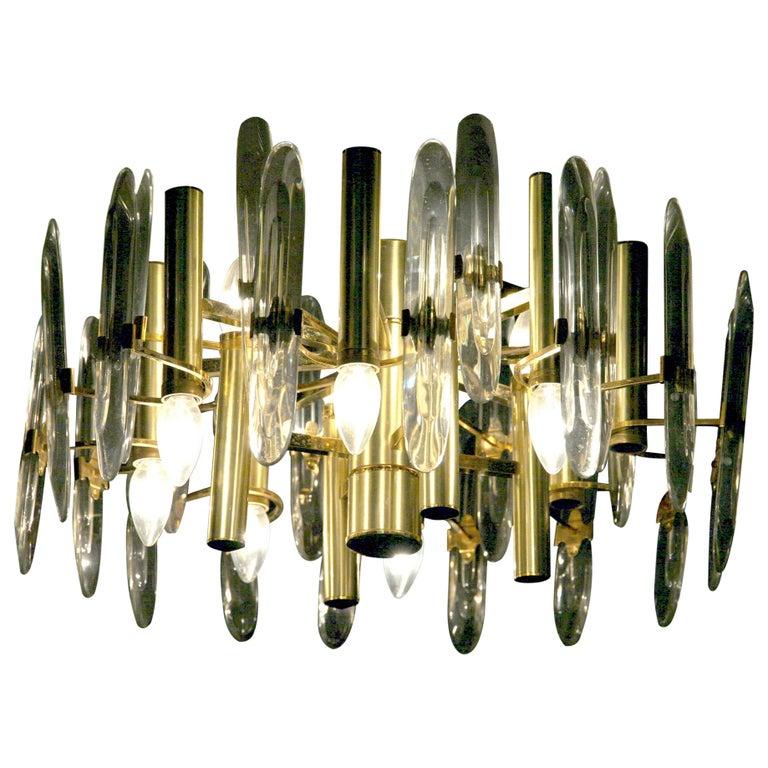 Sciolari Gold Brass Led Crystal Mid-Century Chandelier 12 Lights Stilkronen, 70s For Sale