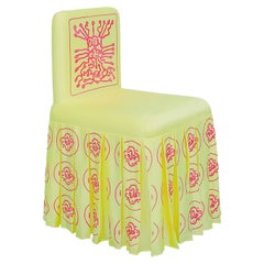"""""""Vitamin-B12-Omega-3"""" Hand-Embroidered Yellow and Magenta Chair"""